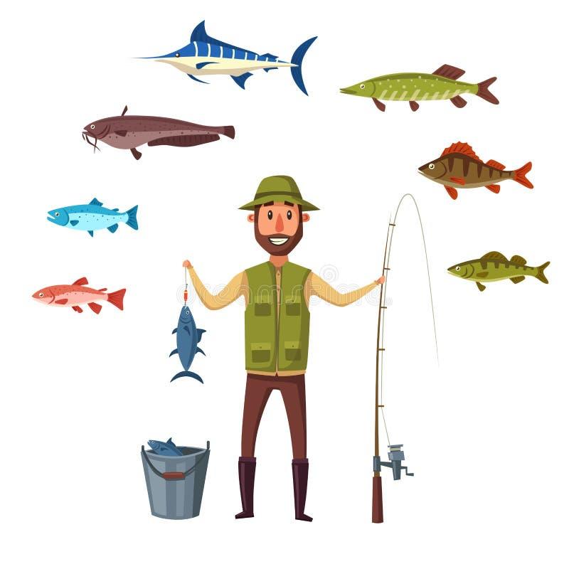 L'uomo di Fisher, fermo di pesce del vettore isolato pesca illustrazione di stock