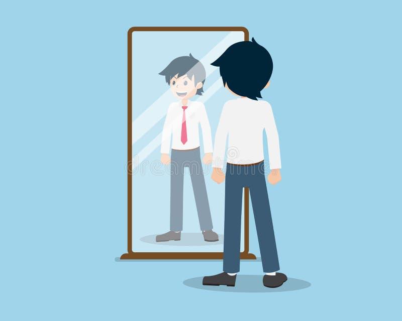 L'uomo 01 di stipendio è esamina lo specchio immagini stock