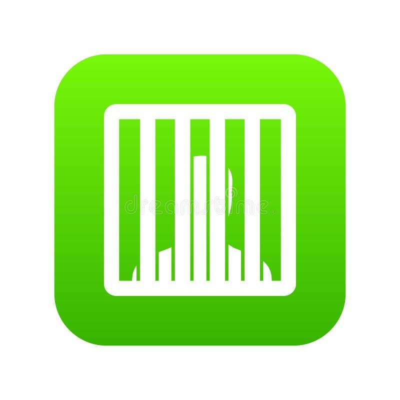 L'uomo dietro la prigione esclude il verde digitale dell'icona illustrazione di stock
