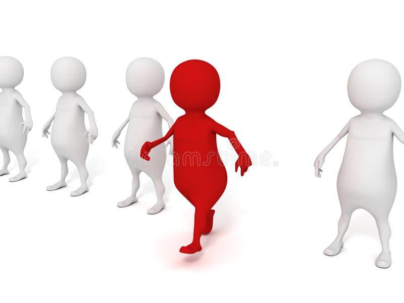 L'uomo differente dell'individuo 3d in un gruppo fa il primo punto fuori illustrazione di stock