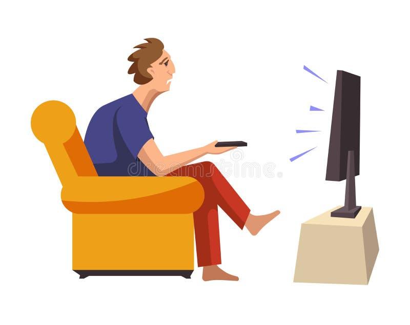 L'uomo dipendente dai programmi della TV si siede sullo strato molle royalty illustrazione gratis