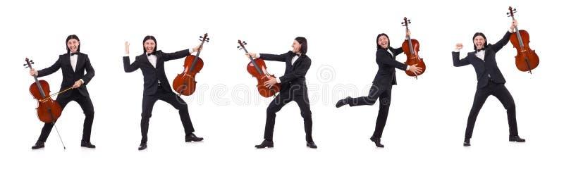 L'uomo divertente con lo strumento di musica su bianco fotografia stock libera da diritti