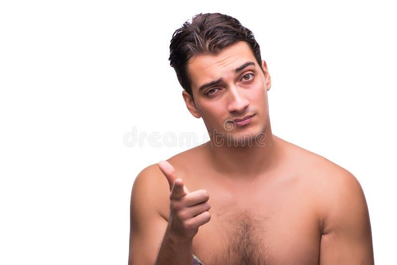 L'uomo divertente dopo la doccia isolata su bianco fotografie stock