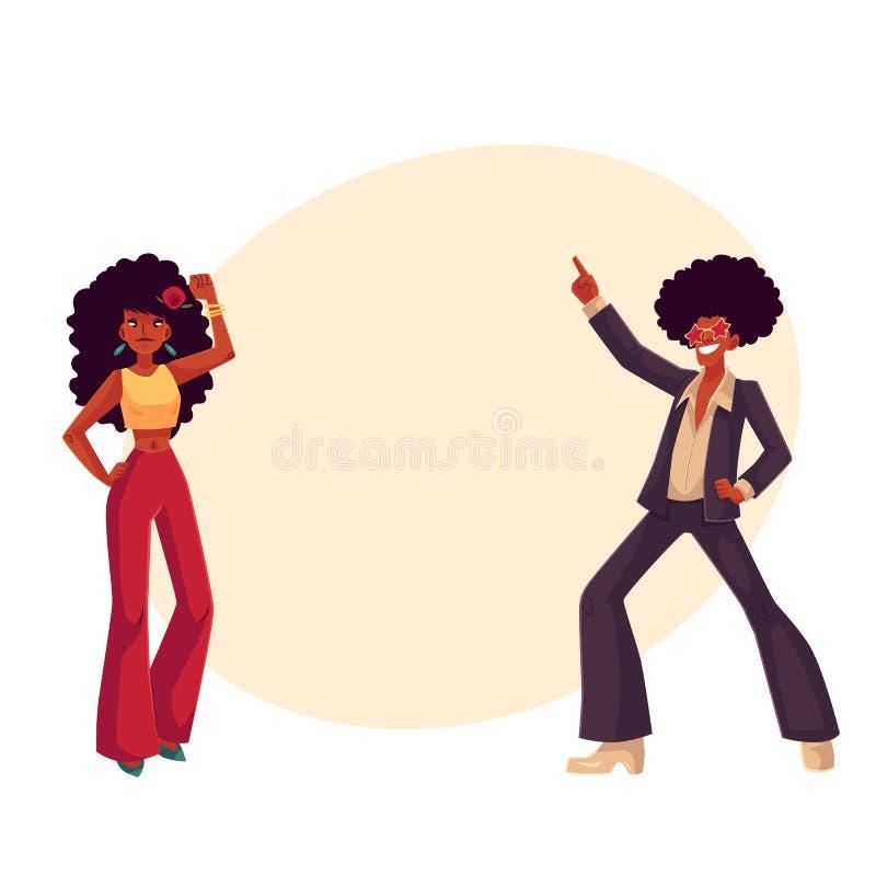L'uomo, donna con i capelli nel 1970 s di afro copre la discoteca di dancing illustrazione di stock