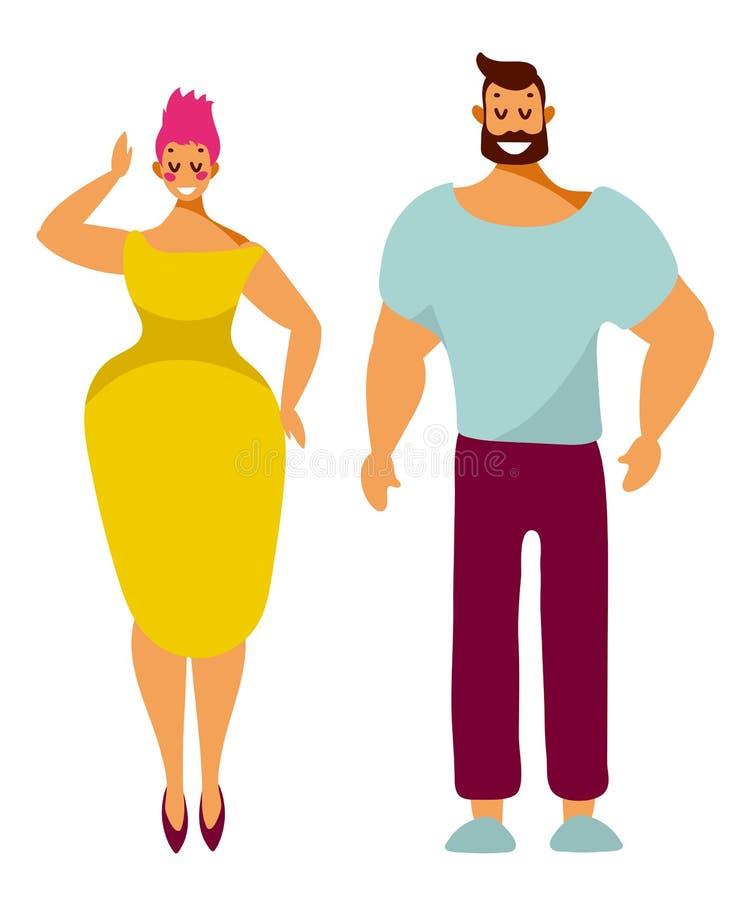 L'uomo e la donna, caratteri svegli stanno con i sorrisi isolati su bianco illustrazione vettoriale
