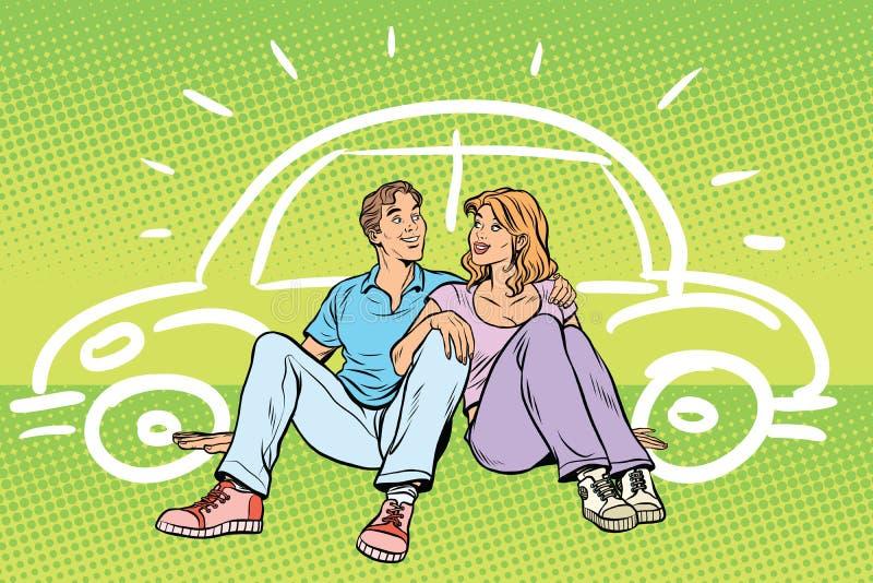L'uomo e la donna dei giovani sognano dell'automobile illustrazione di stock