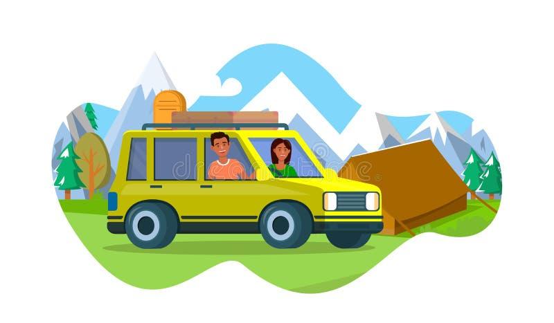 L'uomo e la donna fanno una pausa l'automobile gialla vicino alla tenda del campo illustrazione di stock