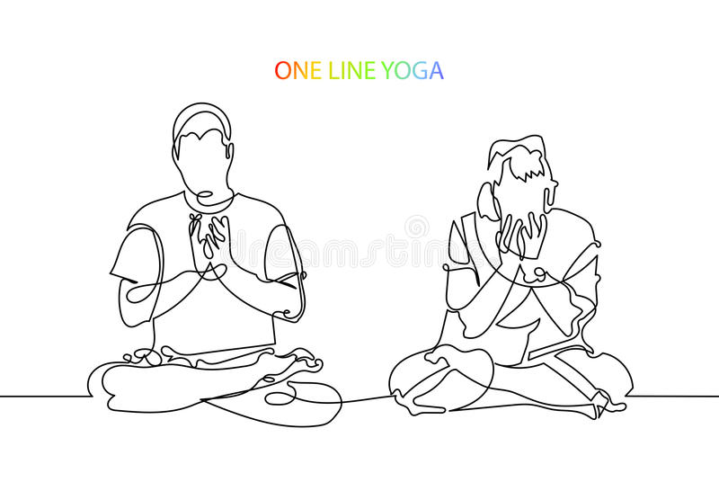 L'uomo e la donna meditano nella posizione di loto, vettore del lineart illustrazione vettoriale