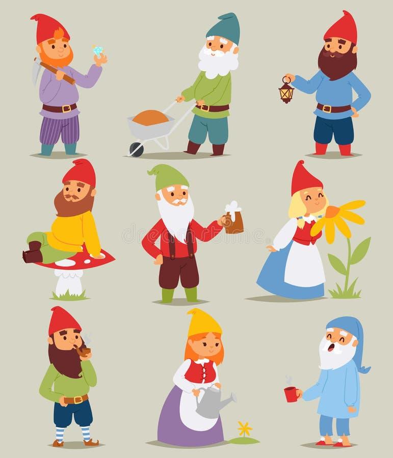 L'uomo e la donna svegli del nano di fiaba dei piccoli caratteri divertenti stabiliti del giardino di Gnome nel fumetto del cappu royalty illustrazione gratis