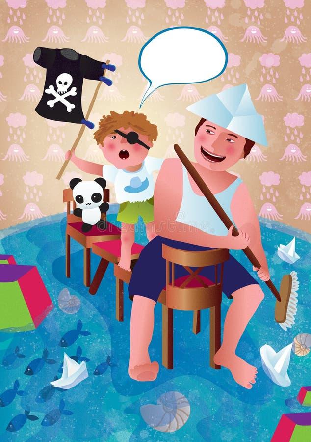 L'uomo ed il bambino stanno giocando Padre e figlio, pirati Illustrazione illustrazione di stock