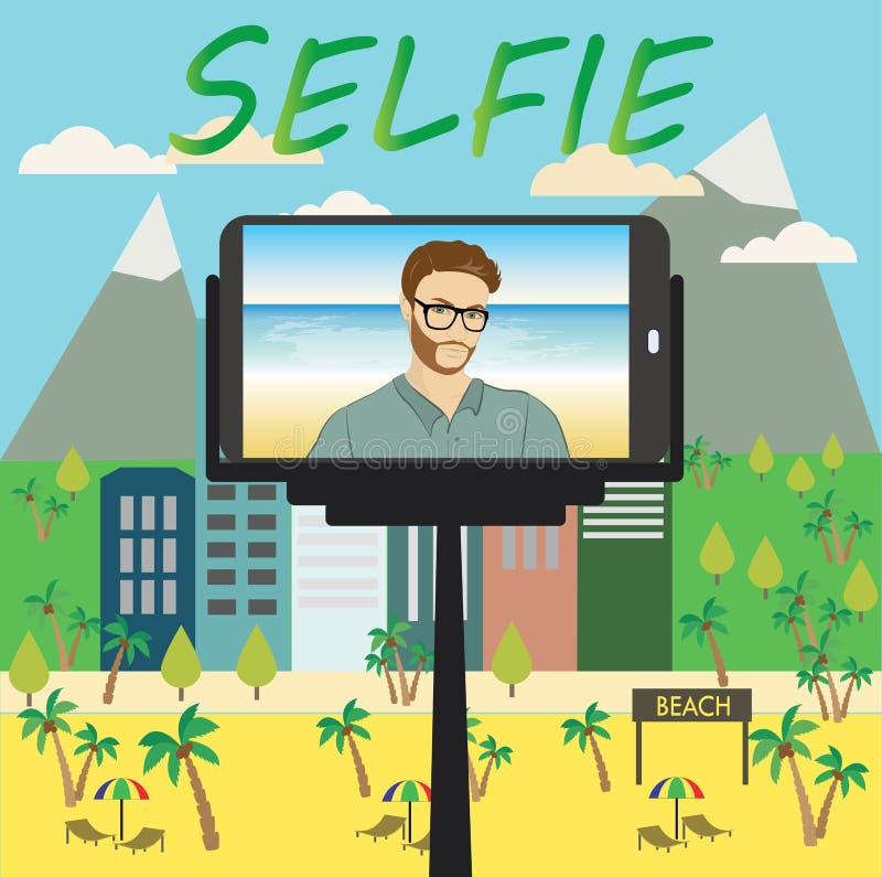 L'uomo fa il selfie facendo uso di un monopiede e di uno smartphone illustrazione vettoriale