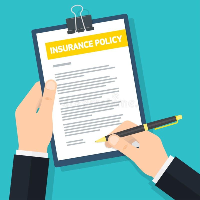 L'uomo firma la polizza d'assicurazione illustrazione vettoriale