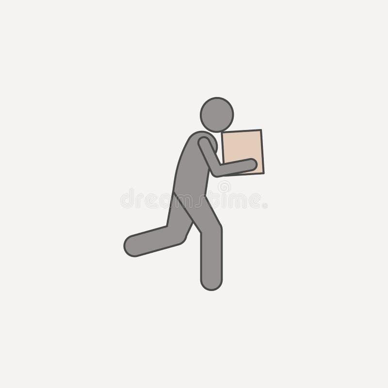 l'uomo funziona con la linea colorata icona della scatola 2 Illustrazione semplice dell'elemento colorato l'uomo funziona con pro illustrazione vettoriale