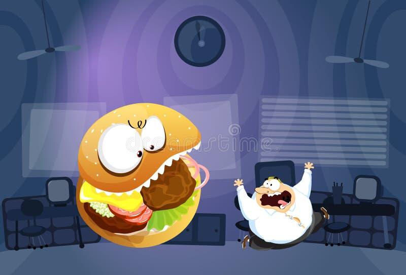 L'uomo grasso ha inseguito da Burger Monster illustrazione di stock