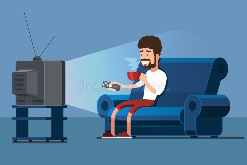 L'uomo guarda la TV sul sofà con l'illustrazione di vettore della tazza di caffè royalty illustrazione gratis