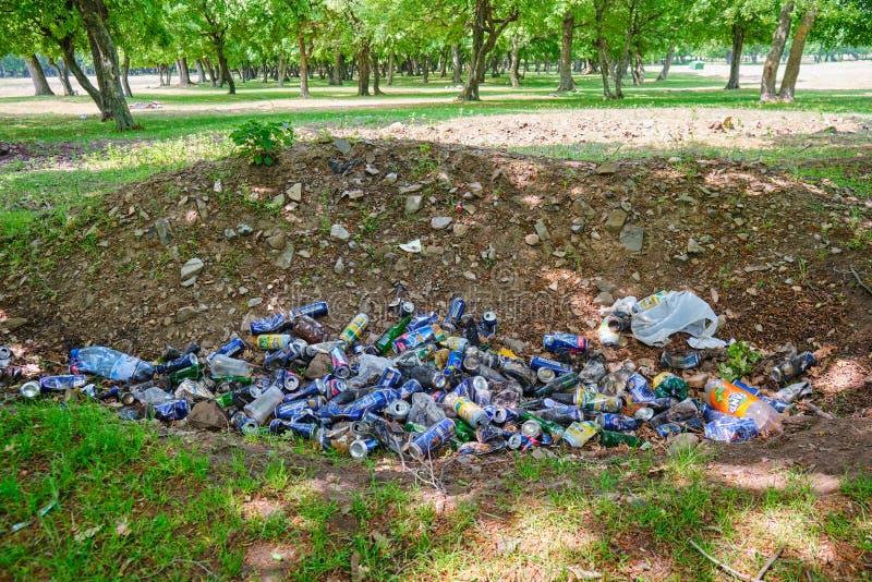 L'uomo ha fatto il mucchio dell'immondizia in natura Birra e latte di soda di alluminio ed alcune bottiglie di plastica gettate s immagine stock