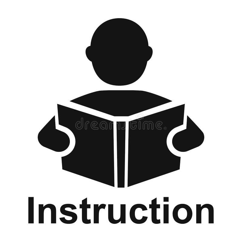 L'uomo ha letto un'icona semplice del libro Simbolo di istruzione Icona del manuale di istruzioni illustrazione di stock