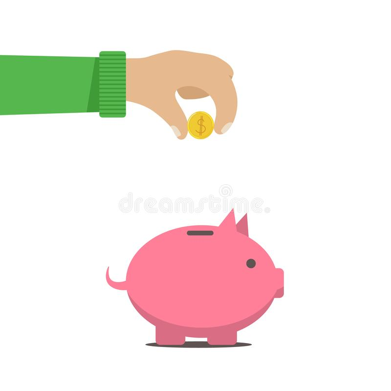 L'uomo ha messo i soldi in un salvadanaio illustrazione di stock