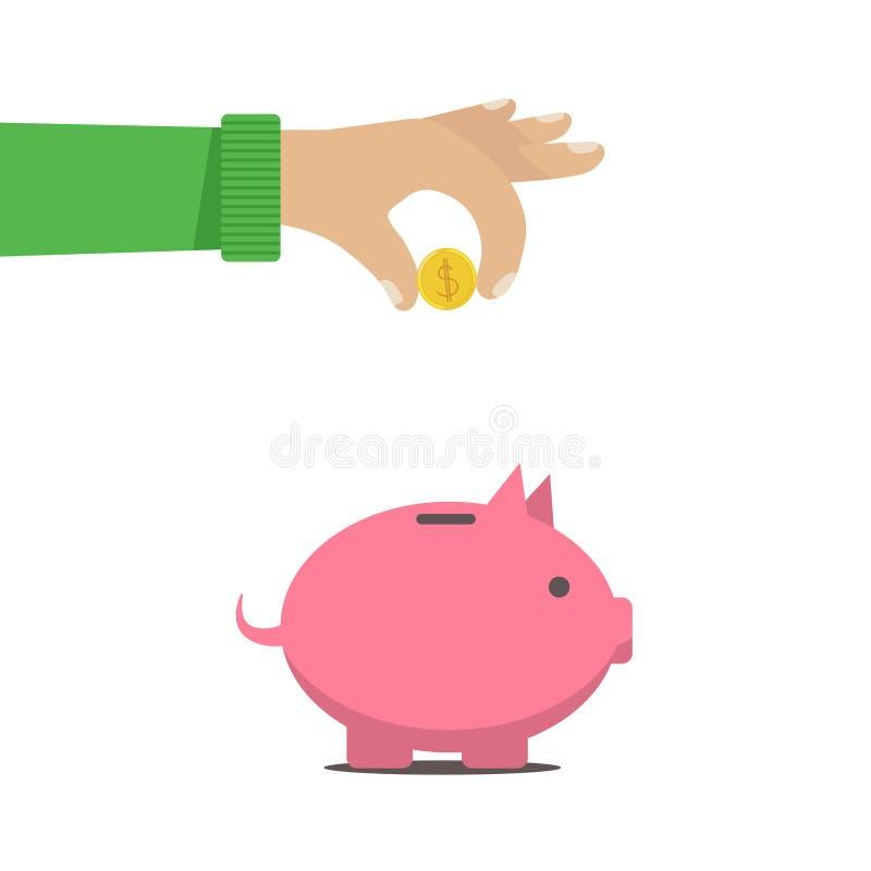 L'uomo ha messo i soldi in un salvadanaio b illustrazione di stock
