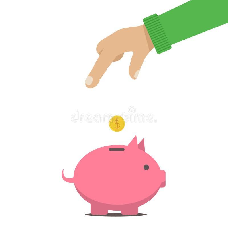 L'uomo ha messo i soldi in un salvadanaio c illustrazione di stock