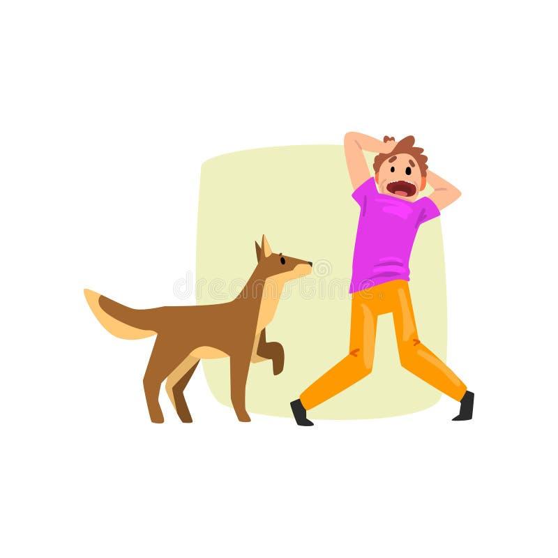 L'uomo ha spaventato dal cane, tipo che soffre dal cynophobia, illustrazione umana di vettore di concetto di timore su un fondo b royalty illustrazione gratis