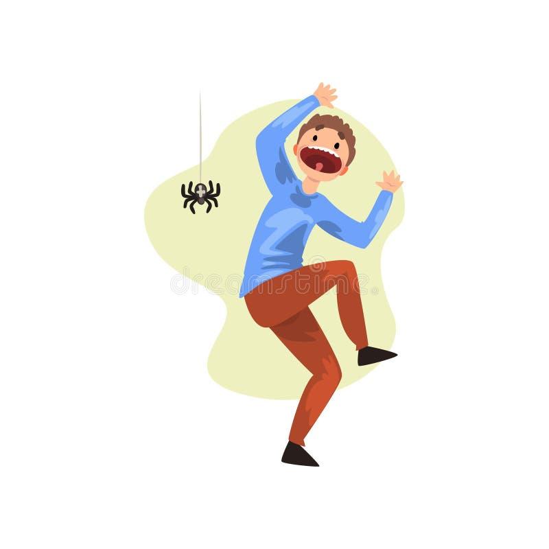 L'uomo ha spaventato dal ragno, tipo che soffre dal arachnophobia, illustrazione umana di vettore di concetto di timore su un fon illustrazione di stock