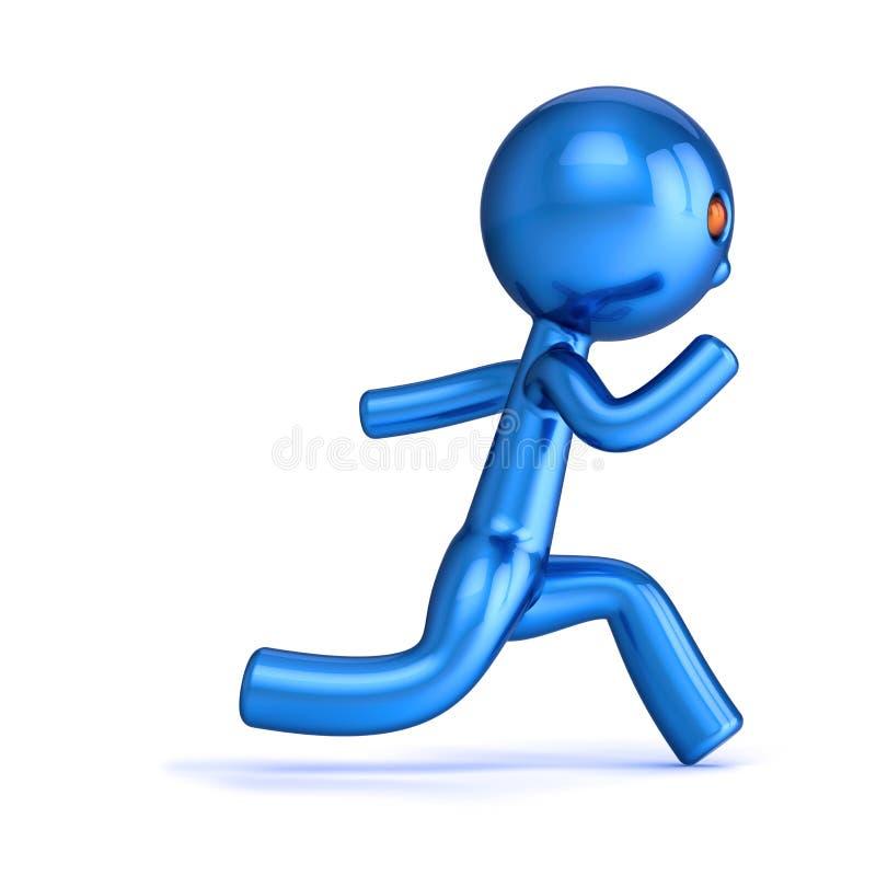 L'uomo il numero uno 1 del personaggio dei cartoni animati del campione del corridore ha stilizzato il blu illustrazione di stock