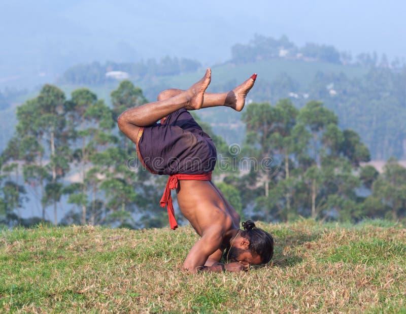 L'uomo indiano che fa l'yoga si esercita su erba verde nel Kerala, verso sud fotografia stock libera da diritti