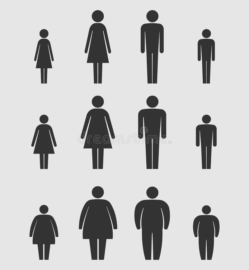 L'uomo, la donna ed il corpo dei bambini calcolano l'icona di dimensione Figure del bastone Isolato su priorità bassa bianca Illu royalty illustrazione gratis