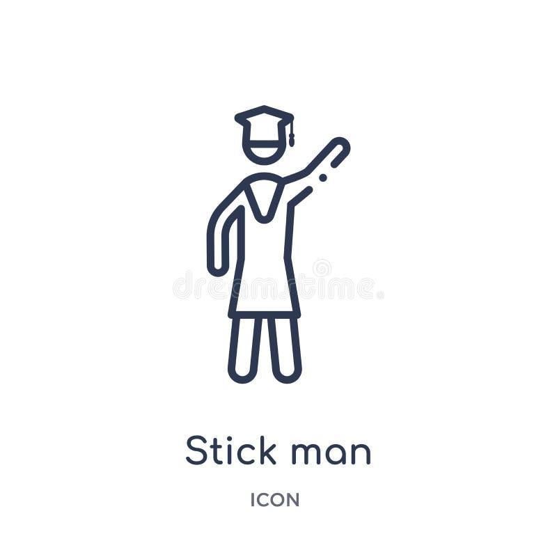 L'uomo lineare del bastone si è laureato l'icona dalla raccolta del profilo di comportamento La linea sottile uomo del bastone si royalty illustrazione gratis