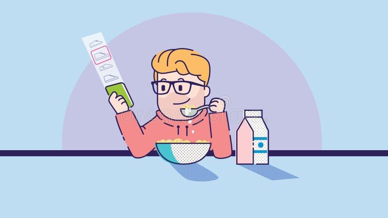 L'uomo mangia il porridge Illustrazione di arte illustrazione di stock