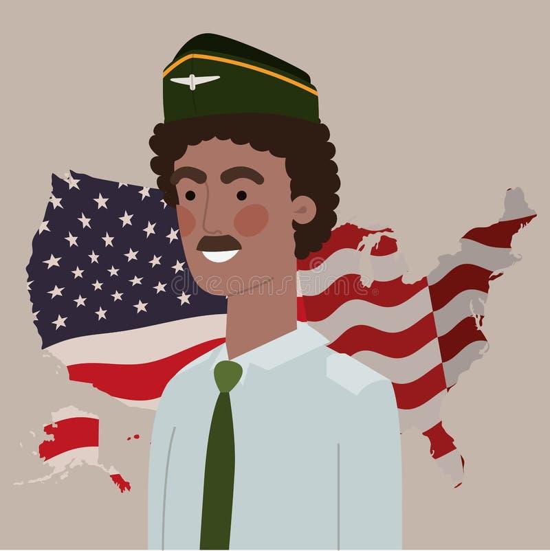 L'uomo militare di afro con gli S.U.A. traccia e diminuisce royalty illustrazione gratis