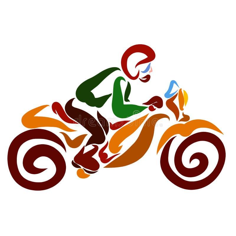 L'uomo nel casco guida rapidamente un motociclo illustrazione di stock