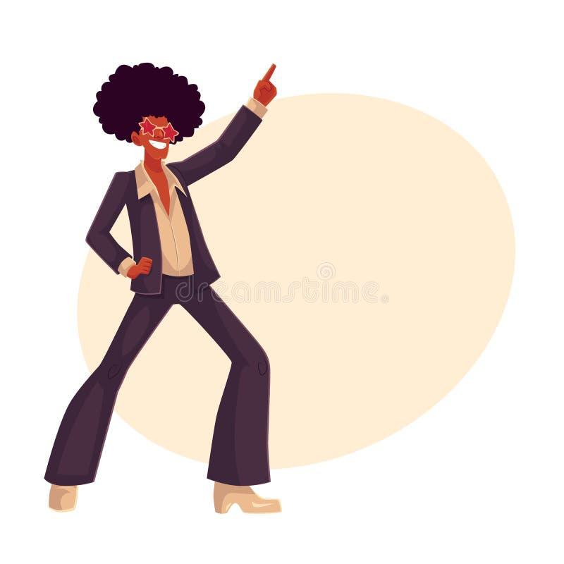 L'uomo nella parrucca di afro e gli anni 70 disegnano i vestiti che ballano la discoteca illustrazione vettoriale