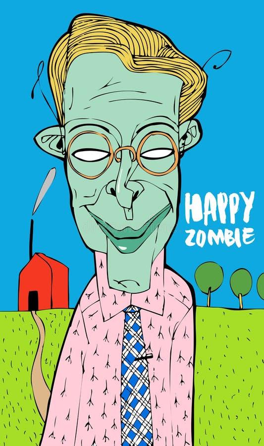 L'uomo non ha notato come è morto e si trasformato in uno zombie Continua ad essere felice Qualunque accade, è felice! illustrazione vettoriale