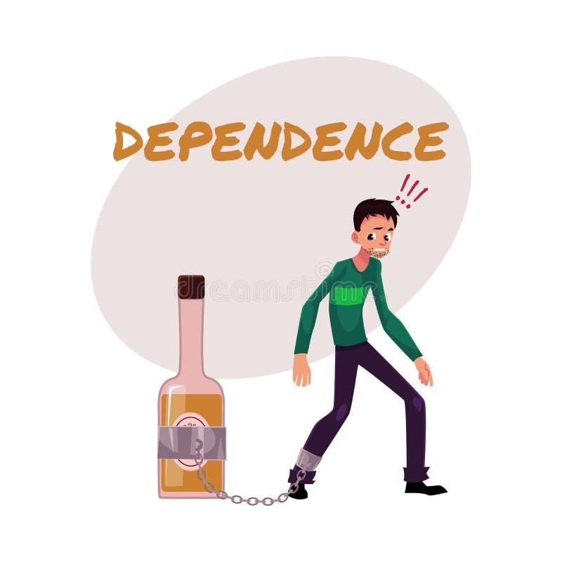 L'uomo non rasato con la mano ha incatenato alla bottiglia del liquore Dipendenza dell'alcool royalty illustrazione gratis
