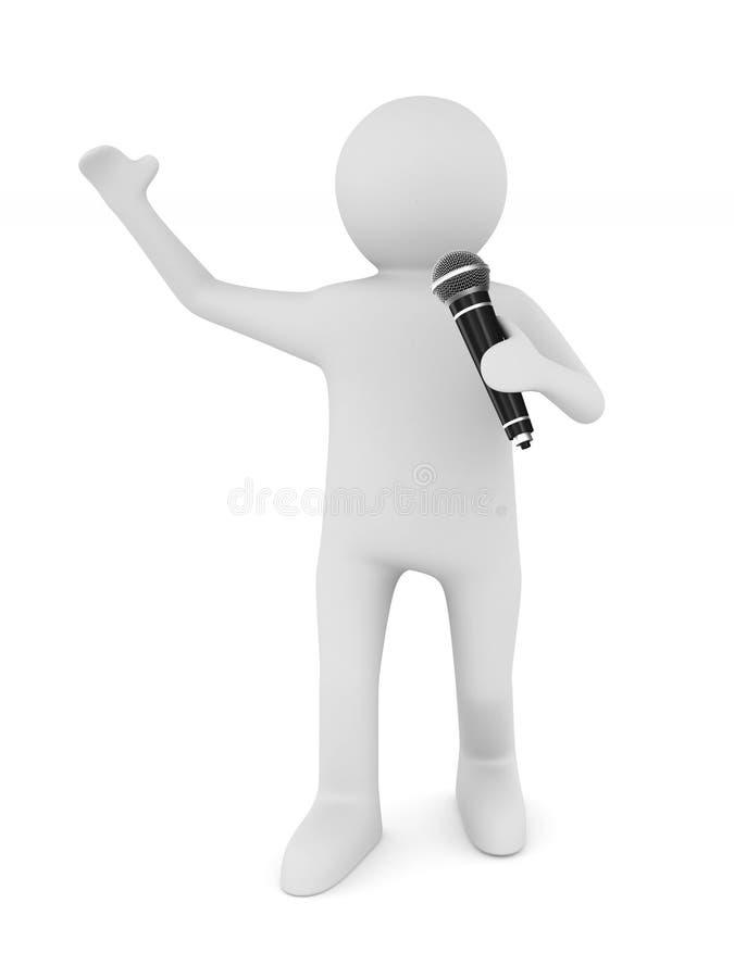 L'uomo parla con il microfono su fondo bianco Illu isolato 3d illustrazione di stock