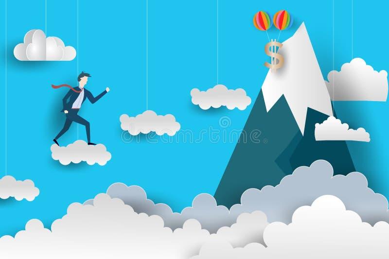 L'uomo piano di affari scala alla cima saltando sopra le nuvole progettazione di carta di stile di arte Illustrazione di vettore  royalty illustrazione gratis