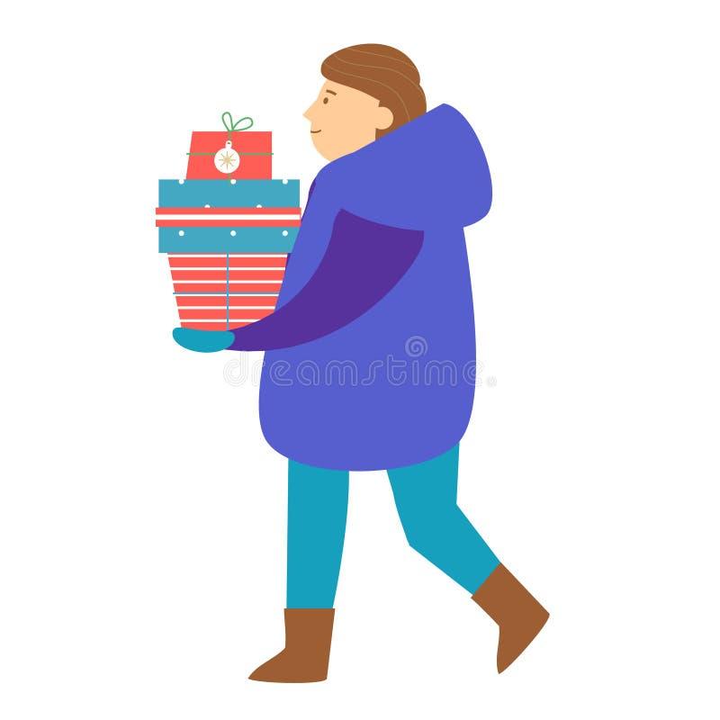 L'uomo porta i contenitori di regalo Serie della gente di Natale e del nuovo anno royalty illustrazione gratis