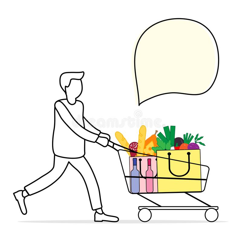 L'uomo porta il carrello con alimento e le bevande royalty illustrazione gratis