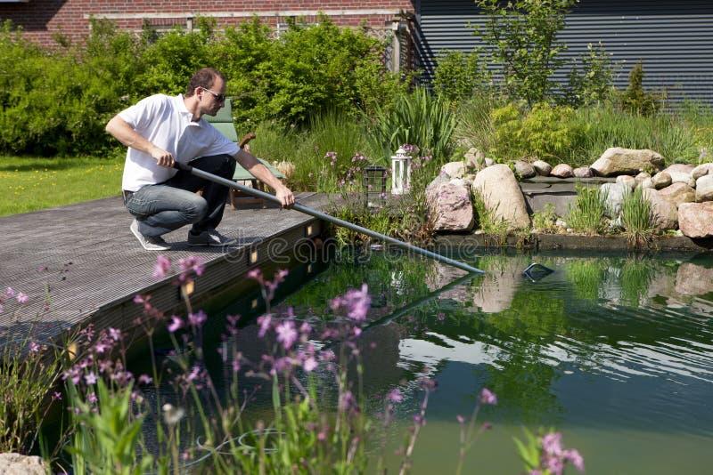 L'uomo pulisce il suo stagno del giardino immagini stock libere da diritti