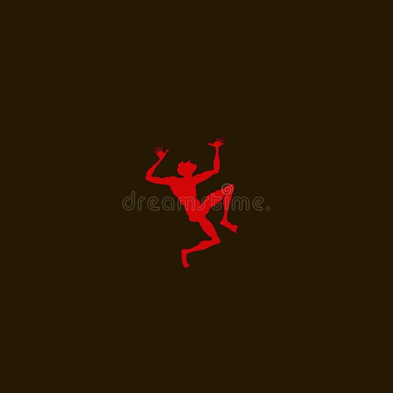L'uomo rosso del fumetto di vettore in un ballo di disperazione con le sue armi si è alzato illustrazione vettoriale