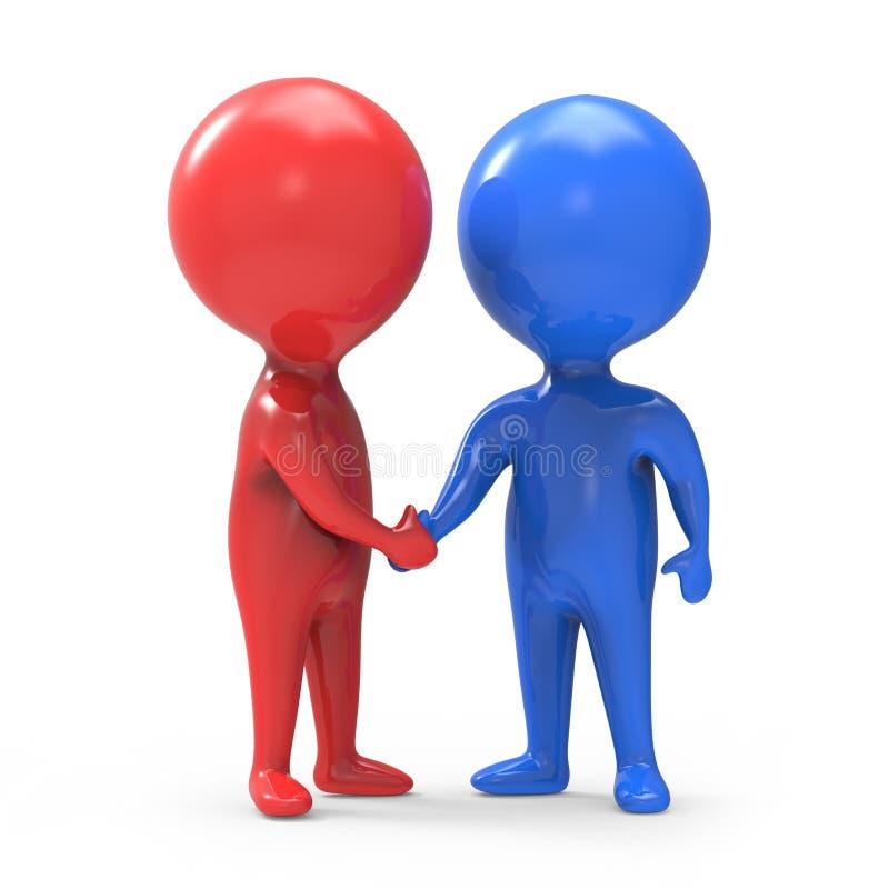 l'uomo rosso e blu di 3d stringe le mani royalty illustrazione gratis