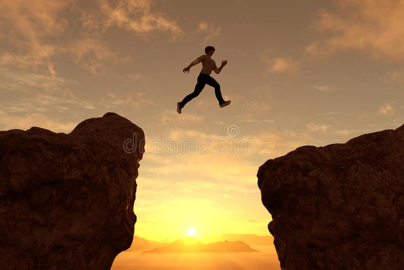 L'uomo salta con lo spacco illustrazione vettoriale