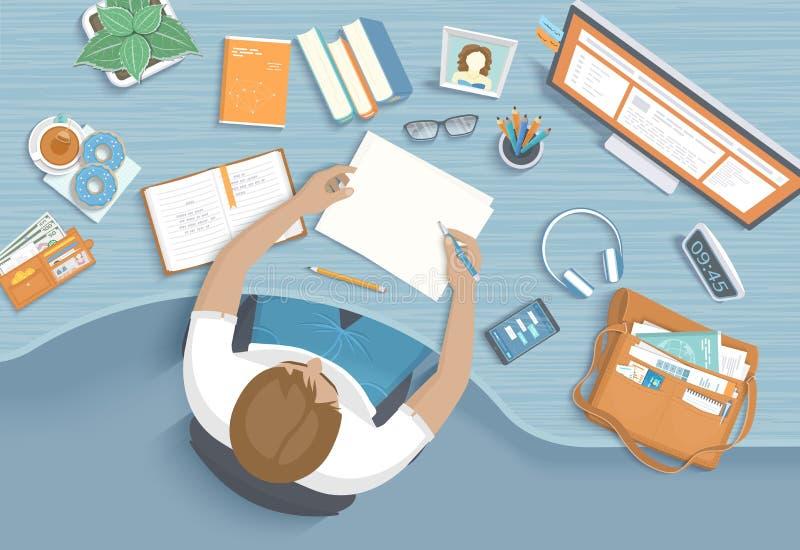 L'uomo scrive alla tavola di legno Sedia da tavolino dell'area di lavoro del posto di lavoro, articoli per ufficio, monitor, libr illustrazione di stock