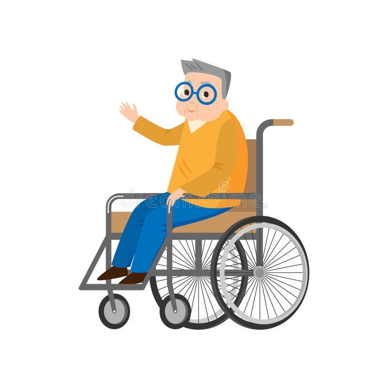 L'uomo senior sveglio in sedia a rotelle, alza la sua mano illustrazione vettoriale