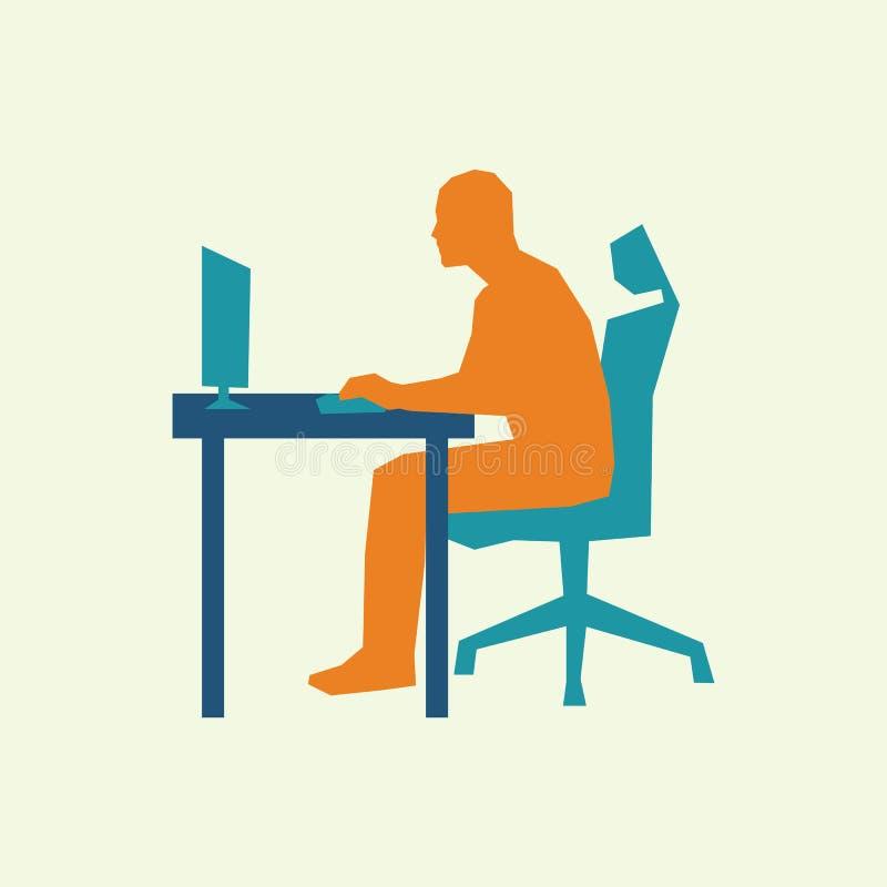 L'uomo si siede allo scrittorio ed al lavoro al computer illustrazione di stock