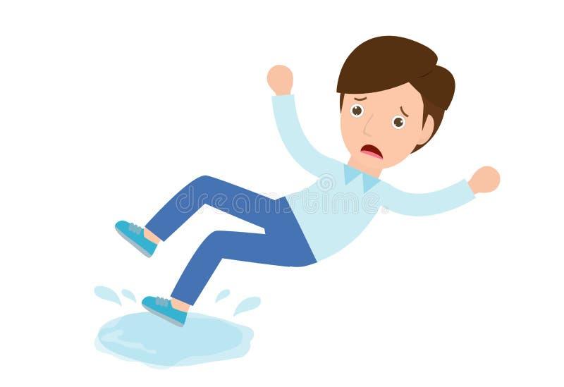 L'uomo slitta sul vettore bagnato del pavimento Il pericolo di slittare, segno di cautela Illustrazione piana isolata del persona royalty illustrazione gratis