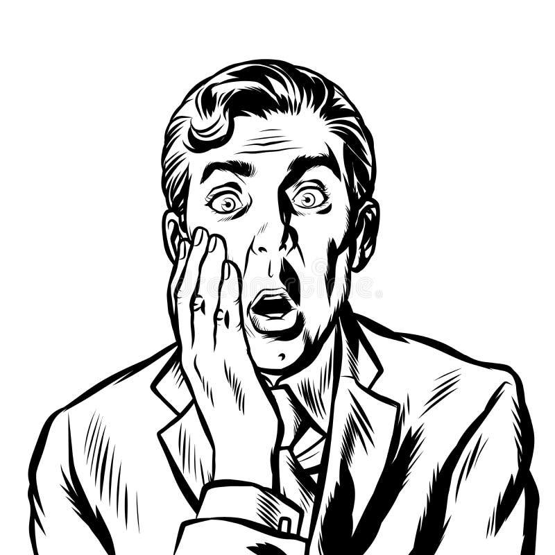 L'uomo sorpreso ha coperto il suo fronte di sua mano illustrazione di stock