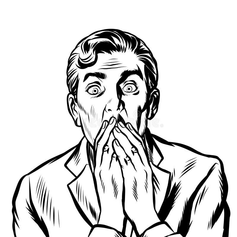 L'uomo sorpreso ha coperto la sua bocca di sue mani royalty illustrazione gratis